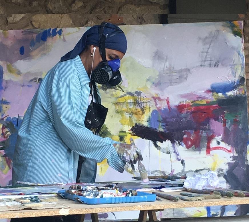 Dora Piñon . Pintura . simposio internacional de artistas. Sianoja 2017 organizado por Manolo Saenz Messia