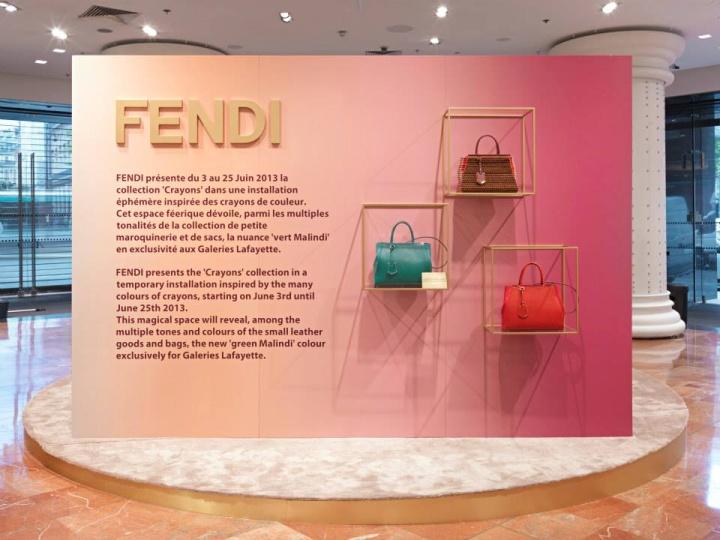 Córner Fendi de Galerías Lafayette en Paris, ejemplo de ordenación de alzados Visual merchandiding