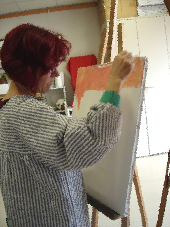 Isabel  de Yzaguirre pintant efecte_esquitxos
