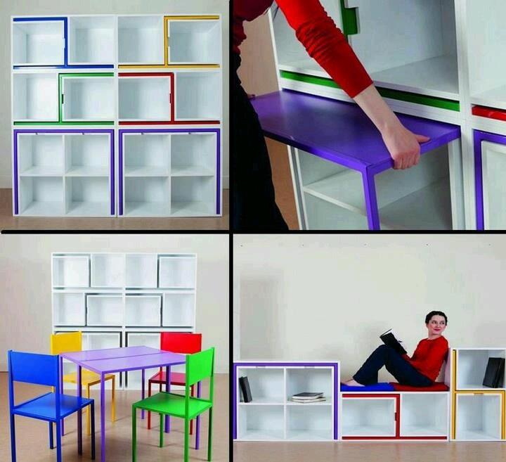 estanteria transformable . muebles multifuncionales. Aprovechar espacio