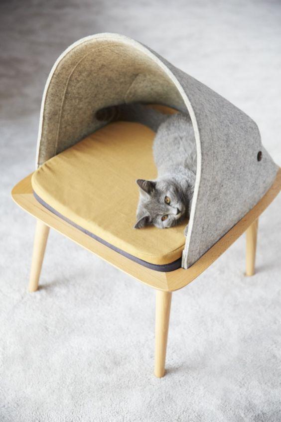 casa de mascotas . Casa para gatos en fieltro . Casa con mascotas