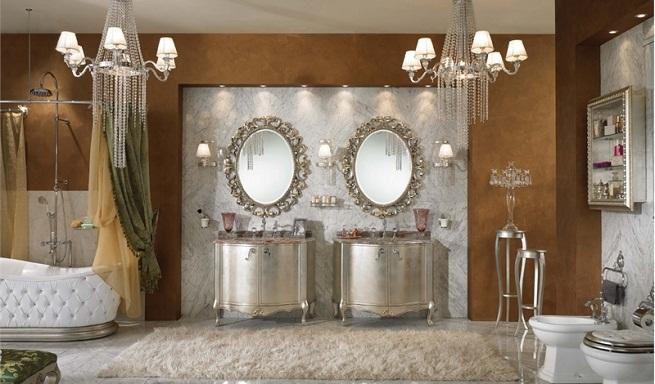 Baños Estilo Barroco:Elegantes espejos vintage