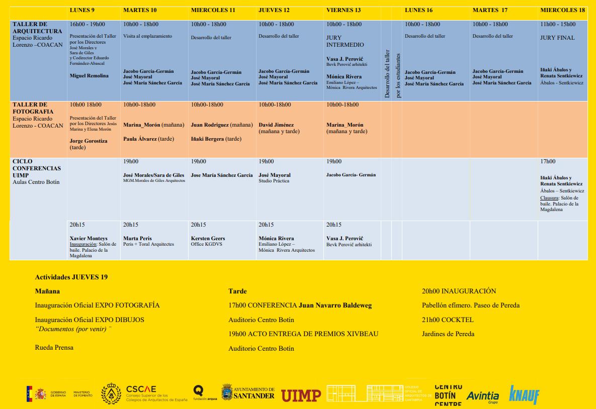 programa bienal de arquitectura y urbanismo Santander 2018