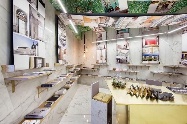 casa decor 2018 la rotativa de antro design. panel de expositores. Gabriel Bautista. ceramica marazz, latón i