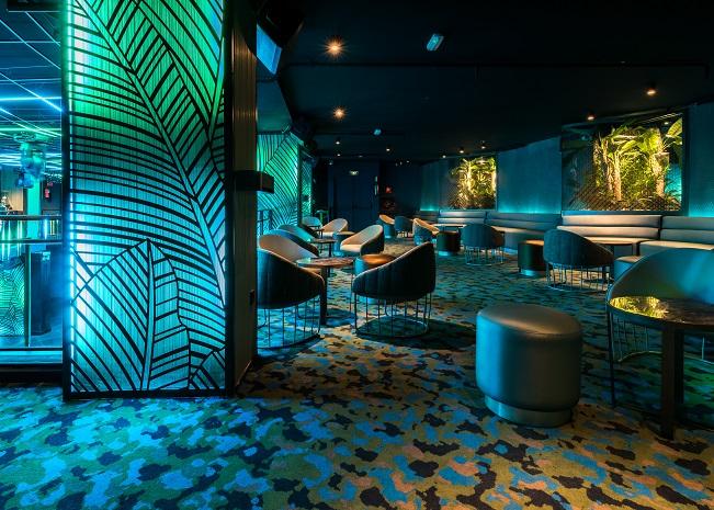 Sala Changó chango club discoteca Madrid. Diseño Cuarto Interior. asientos tonella sancal