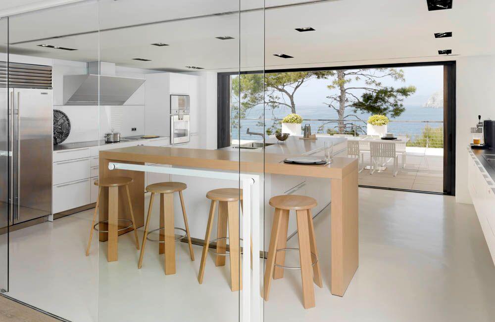 Como dise ar una cocina con isla tipos y consejos - Isla de cocina con mesa ...