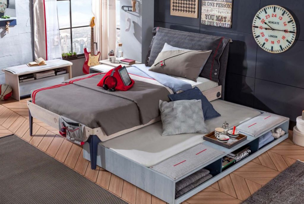 dormitorio juvenil tematico cilek 2.JPG cama con nido y almacenamiento