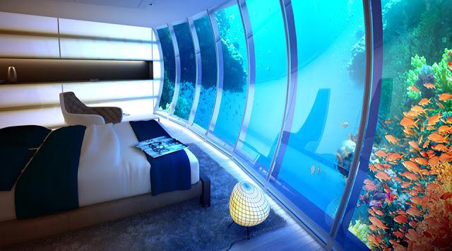 dormitorio sumergido en el mar Diseño y naturaleza.