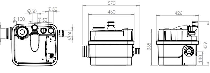 Esquema tecnico y medidas triturador sanitario sanicubic 1 de sanitrit sfa