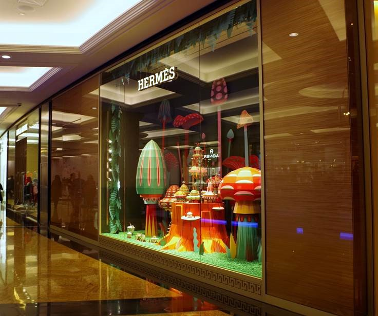 hermes-vitrina led integrado en vidrio
