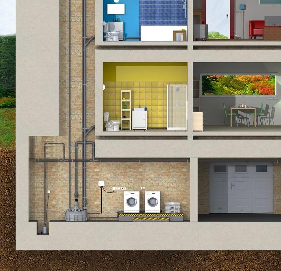 Esquema instalacion sanicubic 2 xl en varias viviendas