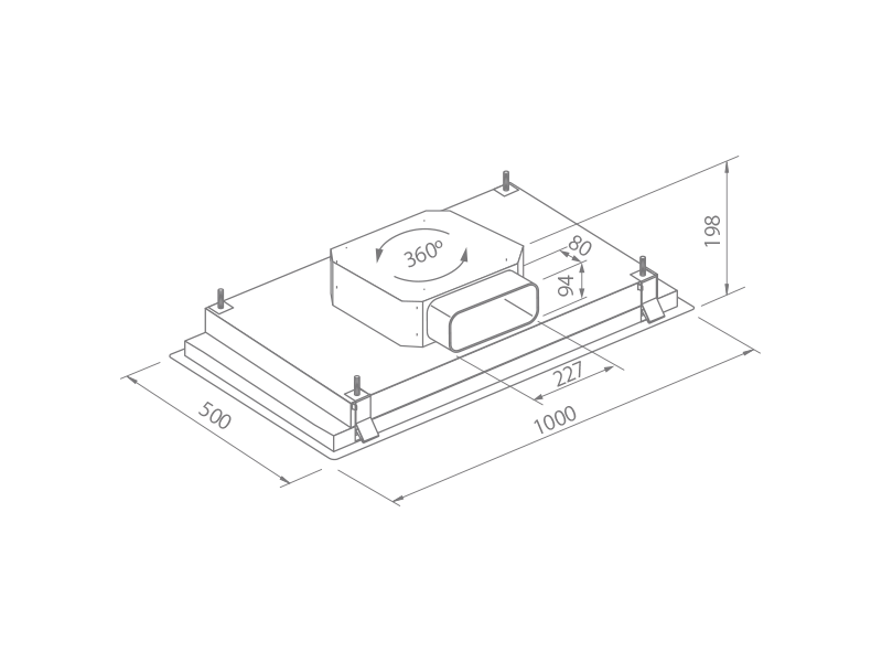 plano instalacion campana extractora de techo