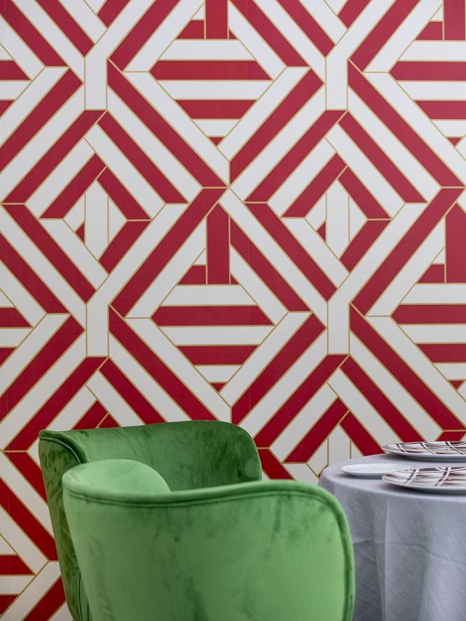 restaurante Coque Madrid Hermanos Sandoval . Diseño Jean Porsche detalle papel pintado