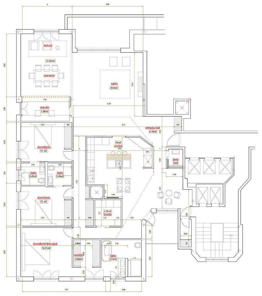 distribucion casa en la castellana c181 zooco estudio