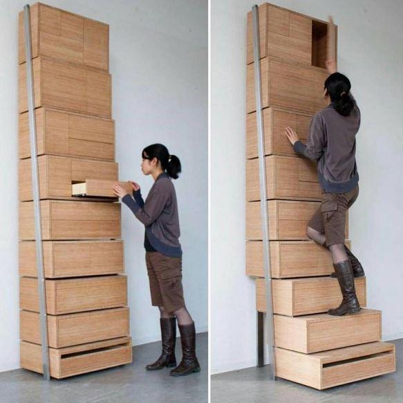Escalera estanteria de Danny Kuo. Staircase