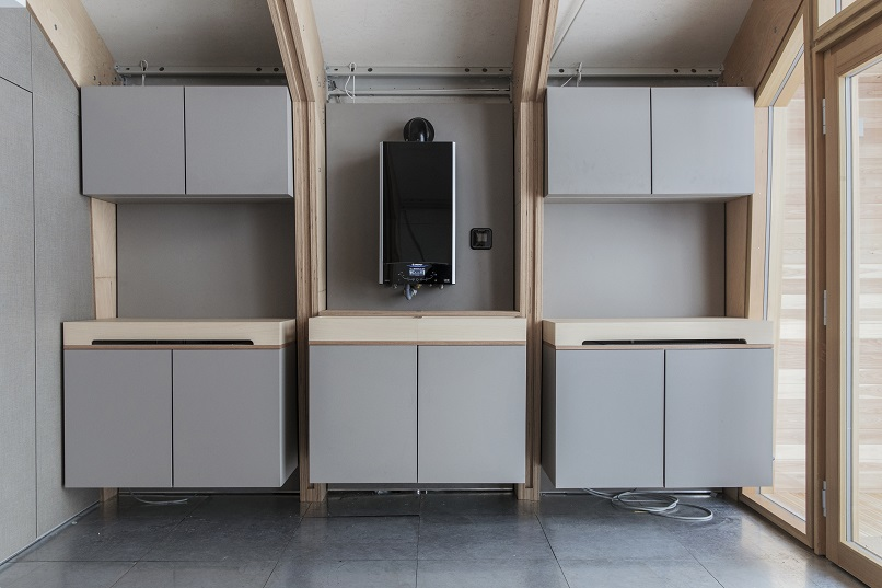 Interior de la vivienda Fase de construcción de la vivienda . ARISTON COMFORT CHALLENGE. Un reto a la Naturaleza. Vivienda modular en el Artico