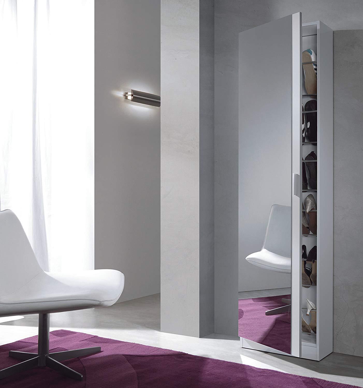 habitdesign zapatero con espejo 180x50x20 blanco brillo
