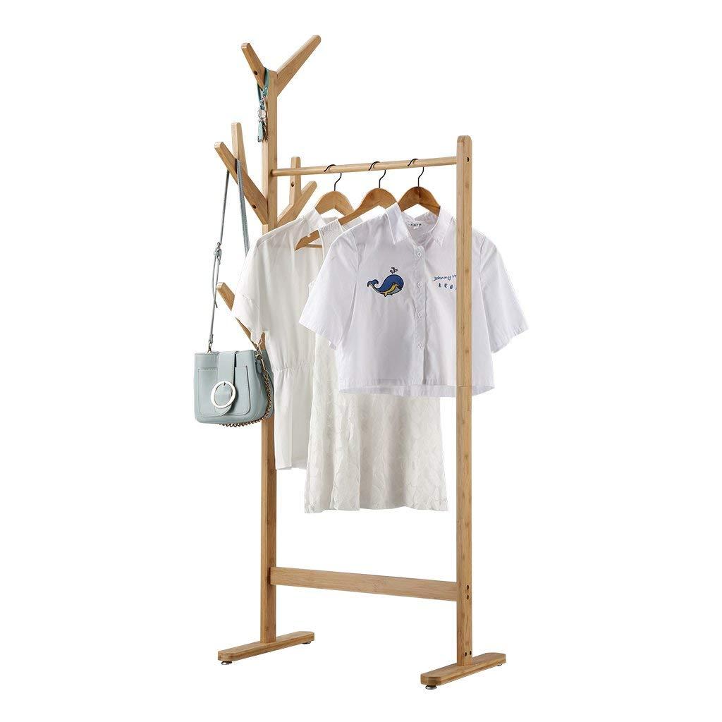 12 Perchero Burro de Bambú Colgador de Ropa de 8-Ganchos Tipo Árbol con Pies Ajustables para Chaquetas Abrigos largos Vestidos Paraguas Sombreros