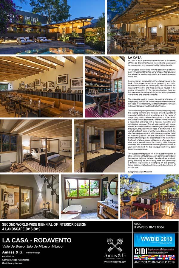 Casa Rodavento. amass & g Medalla de Oro Bienal Iberoamericana Cidi de interiorismo, diseño y paisajismo WWBID 2018 interior design and landscape