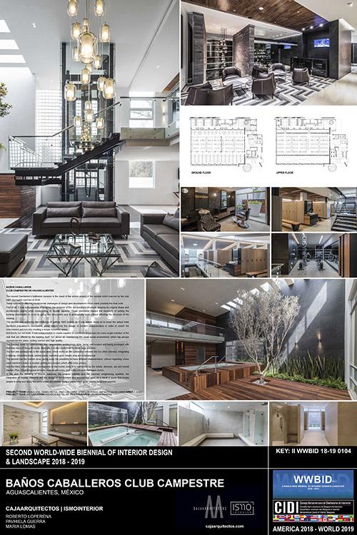 Baños caballeros Aguascalientes. Medalla de Oro Bienal Iberoamericana Cidi de interiorismo, diseño y paisajismo WWBID 2018 interior design and landscape