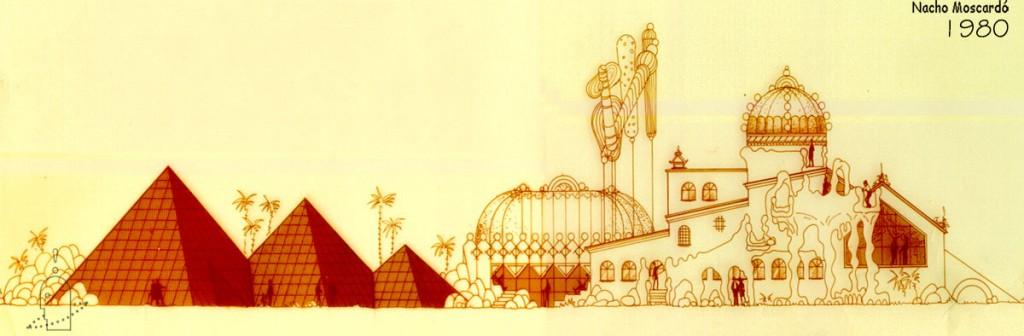 1980-1 Bocetos Discoteca Chocolate Valencia. Diseño Nacho Moscardó Años 80. Movida Valenciana Ruta del bakalao