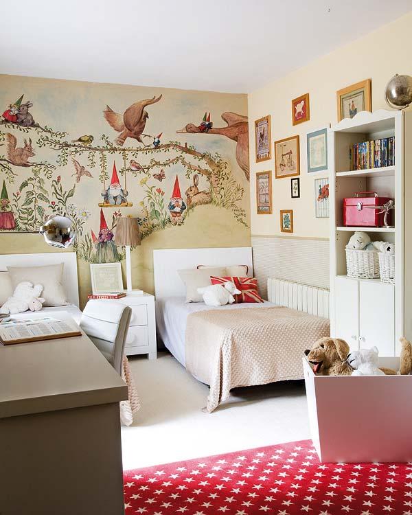 Decoracion de dormitorios para niños. DEcoracion pintada en la pared