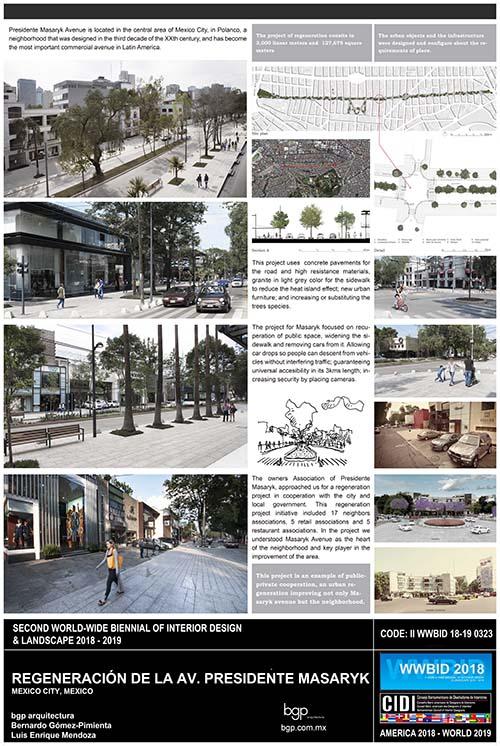 masaryk. bgp arquitectura. Medalla de Oro Bienal Iberoamericana Cidi de interiorismo, diseño y paisajismo WWBID 2018 interior design and landscape