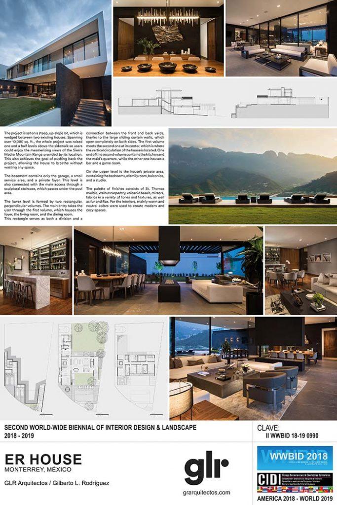 GLR arquitectos. Medalla de Oro Bienal Iberoamericana Cidi de interiorismo, diseño y paisajismo WWBID 2018 interior design and landscape