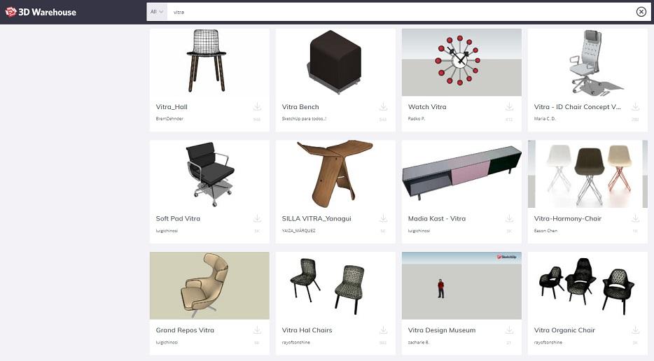 3d warehouse archivos mobiliario vitra sketchup pro