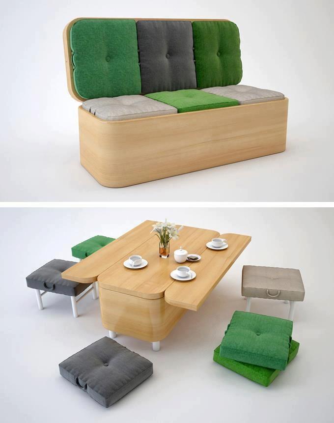 sofa transformable muebles multifuncionales. Aprovechar espacio