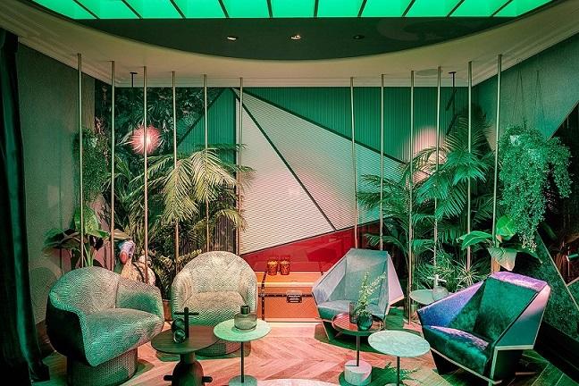 Lobby de hotel. Espacio GIRA IBÉRICA,porEle Room 62. The Cage. Espacios Casa Decor 2019