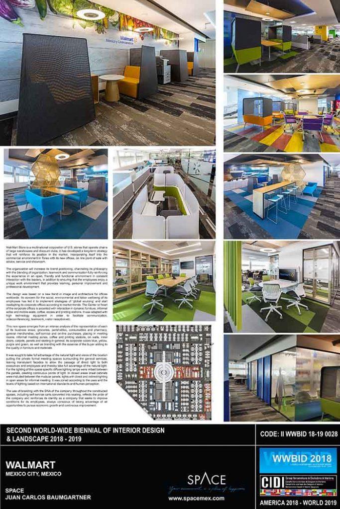 Medalla de Oro Bienal Iberoamericana Cidi de interiorismo, diseño y paisajismo WWBID 2018 interior design and landscape Walmart Space Arquitectura