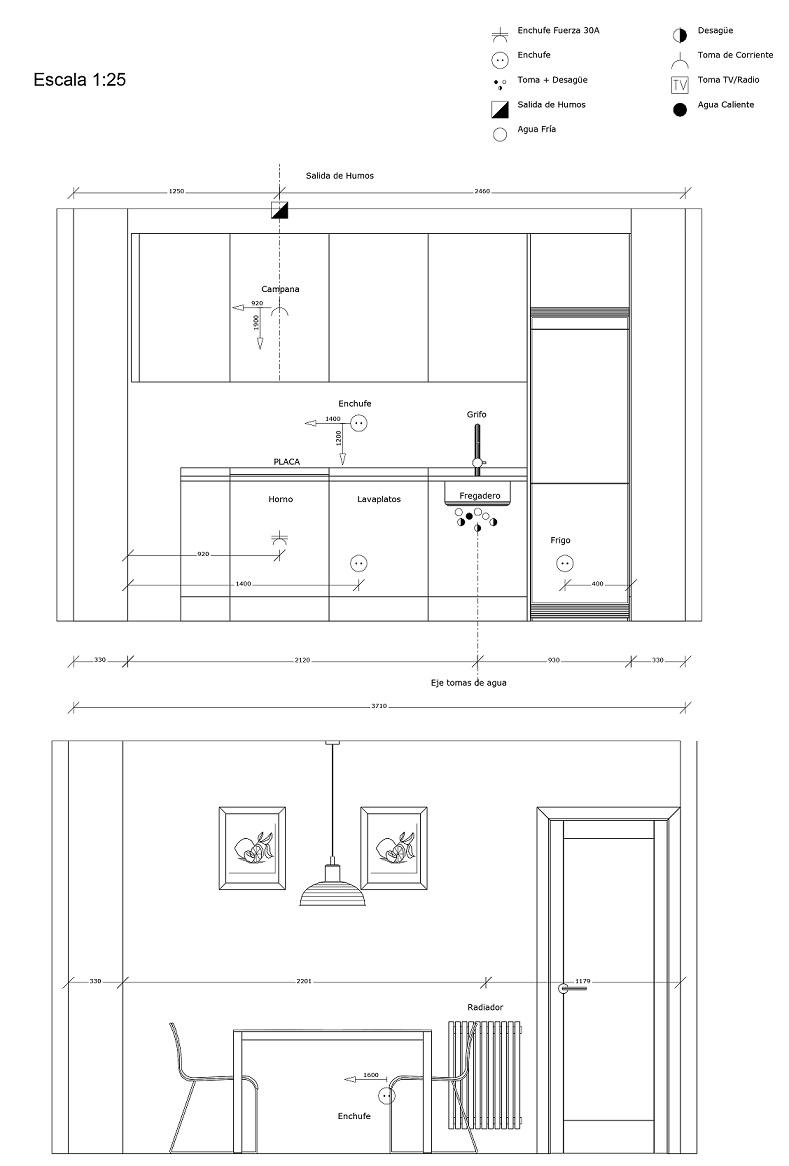 COMO REFORMAR la COCINA PASO A PASO. planos instalacion electrodomesticos de una cocina. Carol Sánchez