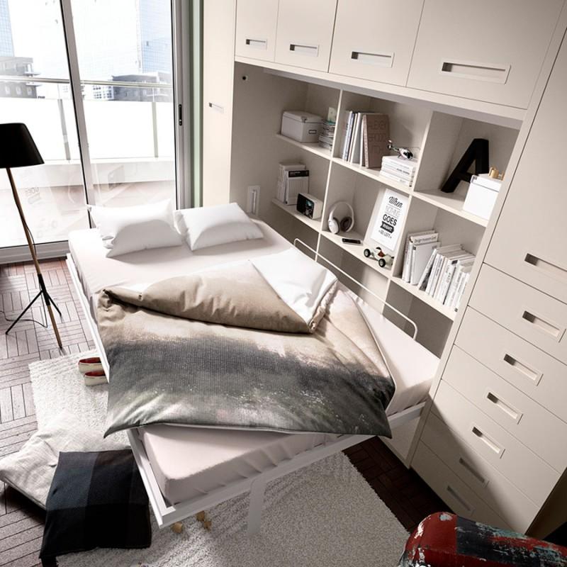 Dormitorio-Bel cama de matrimonio abatible. menamobel. Cama abatible doble