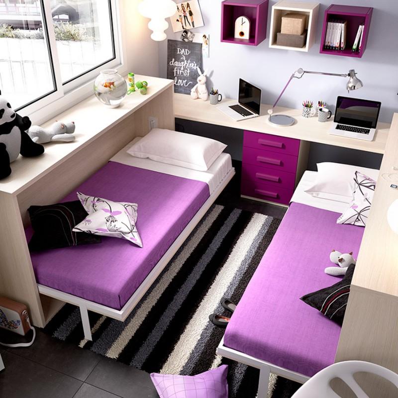 Dormitorio-Liyur cama abatible para cuartos juveniles abiertas . Menamobel