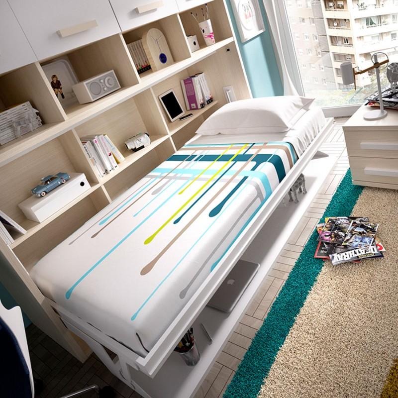 Dormitorio-Riris cama abatible con escritorio para el cuarto juvenil. Menamobel