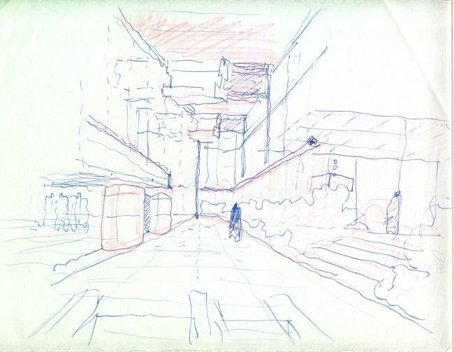 Estudio de acceso por Paseo de la Castellana, del proyecto Banco de Bilbao. Francisco Javier Sáenz de Oiza, inicios de los años 70. Semana de la Arquitectura Coam 2018 madrid