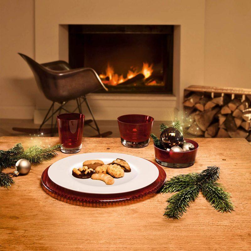 Mesas de navidad originales . bajoplato rojo cristal Villeroy boch