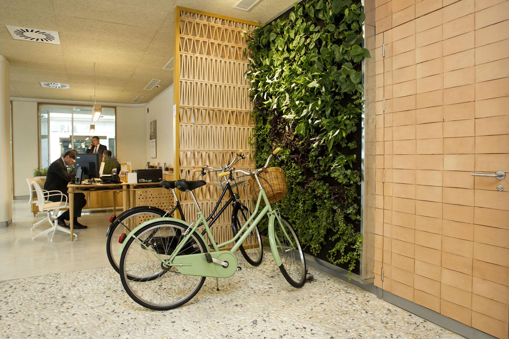 Málaga (España) nueva oficina de Triodos Bank en Málaga (Calle Córdoba nº9).Triodos Bank Malaga diseño ecoeficiente . Premio Nacional Green Solutions  Awards 2017 . Construction21 International