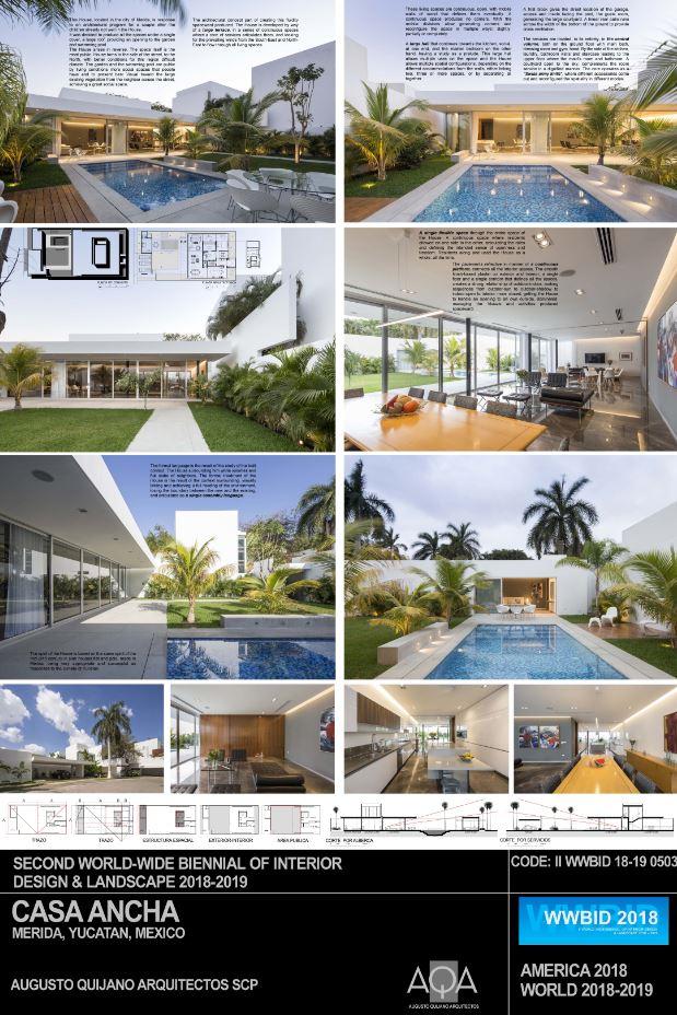 Premios CIDI Bienal de Arquitectura 2018 Augusto Qijano- Casa Ancha Medalla de Oro Bienal Iberoamericana Cidi de interiorismo, diseño y paisajismo WWBID 2018 interior design and landscape