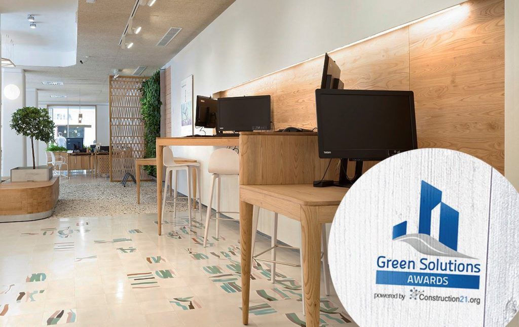 Triodos Bank Malaga diseño ecoeficiente . Premio Nacional Green Solutions Awards 2017 . Construction21 International