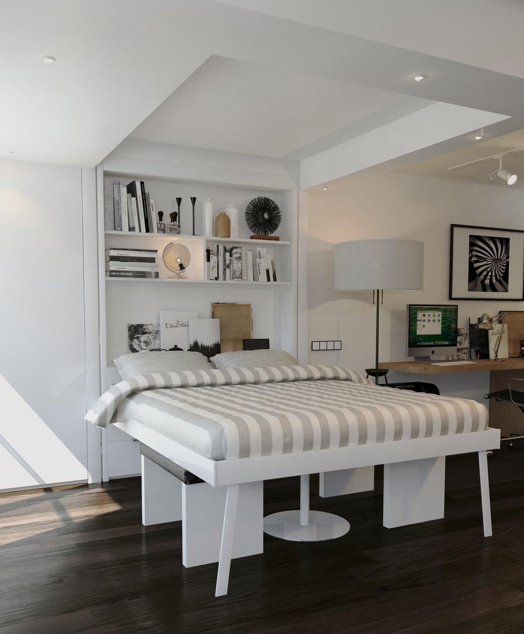 muebles multifuncionales. Tu lecho al techo. Camas abatibles al techo.