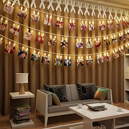 adornos de navidad originales. guirnaldas de luces con pinzas para fotos