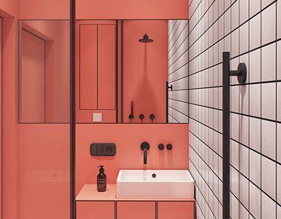 Tendencias cerámicas 2019. baño combinación color coral
