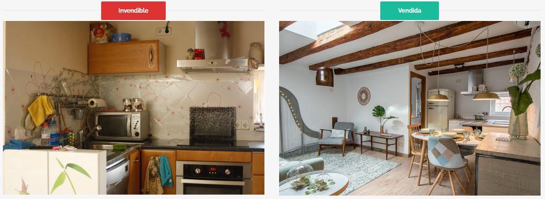 antes y despues Home Staging Asun Tello Neurointeriorismo. Diseño de interiores y felicidad después de la pandemia. Asun Tello Atinteriorismo.com