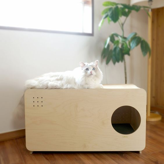 arenero para gatos en mueble. Casa con mascotas.
