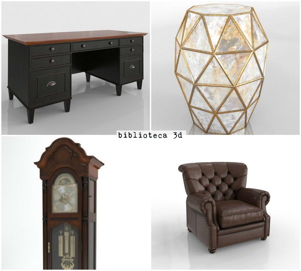 biblioteca 3d mobiliario y objetos despacho glancing eye