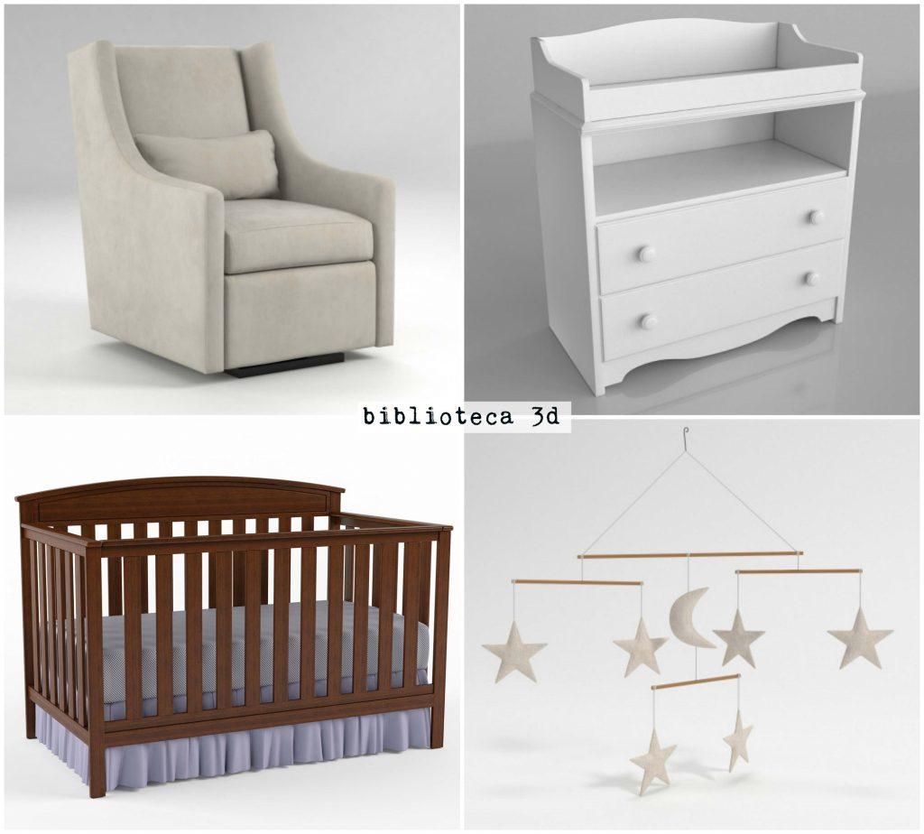 biblioteca 3d mobiliario y objetos dormitorio infantil glancing eye