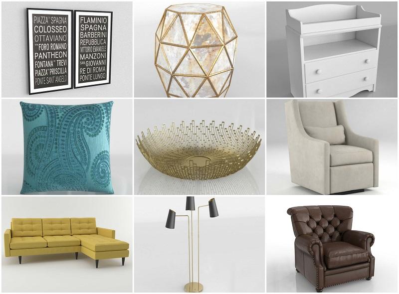 biblioteca 3d mobiliario y objetos glancing eye
