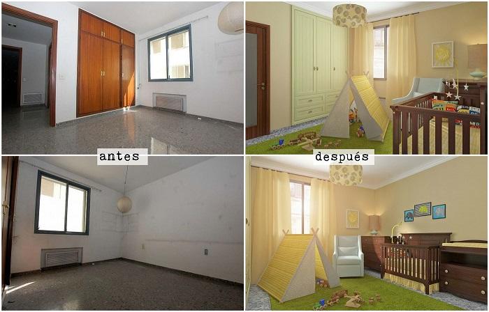 bibliotecas 3d . Glancing eye. proyecto dormitorio infantil antres y después